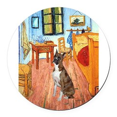 3-MP-ROOM-Vert-Boxer5-Brindle.png Round Car Magnet
