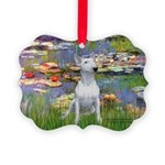 Lilies2-Bull Terrier (P) Picture Ornament