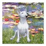 Lilies2-Bull Terrier (P) Square Car Magnet 3