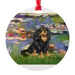 PILLOW-Lilies2-Blk-Tan.png Round Ornament