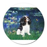 3-LILIES1-Cav-Tri6.png Round Car Magnet