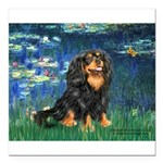 TILE-Lilies5-Cav-Blk-Tan.png Square Car Magnet 3