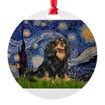 PILLOW-StarryCav-Blk-Tan.png Round Ornament
