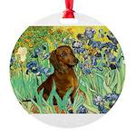 5.5x7.5-Irises-Dachs-Brwn1.png Round Ornament