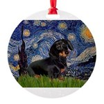 5.5x7.5Starry-Dachs16.png Round Ornament