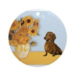 SUNFLOWERS-Dachs1.png Ornament (Round)