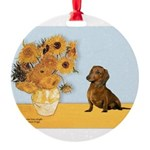 SUNFLOWERS-Dachs1.png Round Ornament