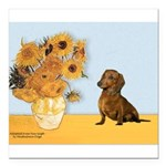 SUNFLOWERS-Dachs1.png Square Car Magnet 3