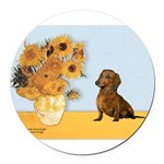 SUNFLOWERS-Dachs1.png Round Car Magnet