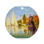 SAILBOATS2-Dobie-Red-Sheenasit.png Ornament (Round