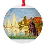SAILBOATS2-Dobie-Red-Sheenasit.png Round Ornament