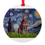 MP-STARRY-Dobie-Red-Sheenasit.png Round Ornament