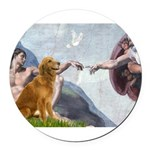 5.5x7.5-Creation-Golden3.png Round Car Magnet