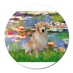 MP-Lilies-GoldBoomr.png Round Car Magnet