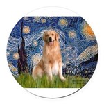 5.5x7.5-Starry-Golden8.png Round Car Magnet