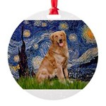 5.5x7.5-Starry-GoldBanj2.PNG Round Ornament