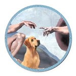 Creation/Labrador (Y) Round Car Magnet