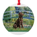 Bridge - Chocolate Lab 11.png Round Ornament