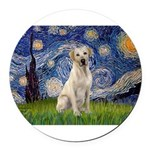 StarryNight-YellowLab7.png Round Car Magnet