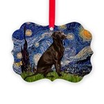 Starry Chocolate Lab Picture Ornament