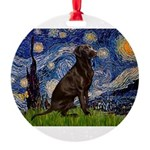 Starry Chocolate Lab Round Ornament