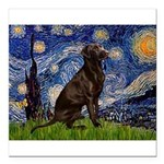 Starry Chocolate Lab Square Car Magnet 3