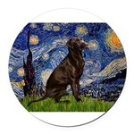 Starry Chocolate Lab Round Car Magnet