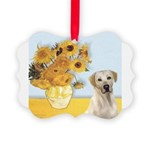 Sunflowers-YellowLab7.png Picture Ornament