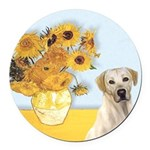 Sunflowers-YellowLab7.png Round Car Magnet
