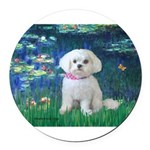 MP-LILIES5-Maltese-Rocky.png Round Car Magnet