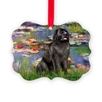 Lilies2-Newfie2 Picture Ornament