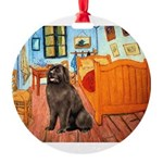 ROOM-Newfie-Brown2.png Round Ornament