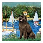 MP-SAILBOATS1-Newfie-Brown2.png Square Car Magnet
