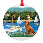 5.5x7.5Sailboats-NovaScotia2.png Round Ornament