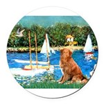 5.5x7.5Sailboats-NovaScotia2.png Round Car Magnet
