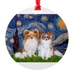 STARRY-PapiPAIR-both.png Round Ornament