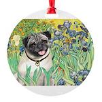 IRISES-Pug18-fawnsmile.png Round Ornament