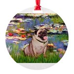 MP-LILIES2-Pug1.png Round Ornament