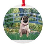 MP-BRIDGE-Pug1.png Round Ornament
