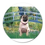 MP-BRIDGE-Pug1.png Round Car Magnet