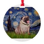 MP-STARRY-Pug2-fawn.png Round Ornament