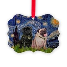 5x7-Starry-PugPair.png Picture Ornament