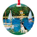 Rat Terrier - Sailboats.png Round Ornament