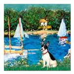 Rat Terrier - Sailboats.png Square Car Magnet 3