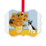 Rat Terrier - Sunflowers.png Picture Ornament