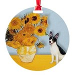 Rat Terrier - Sunflowers.png Round Ornament