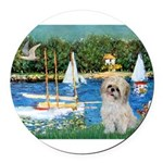 5.5x7.5-Sailboats-ShihPad.png Round Car Magnet