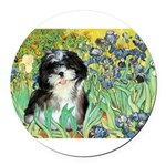 Irises - Shih Tzu 12.png Round Car Magnet