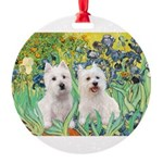 Irises-Westies 3and11-smaller.png Round Ornament