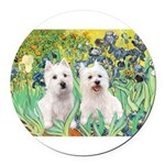Irises-Westies 3and11-smaller.png Round Car Magnet